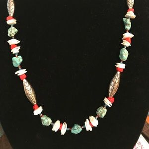 Turquoise and coral necklace matching earrings